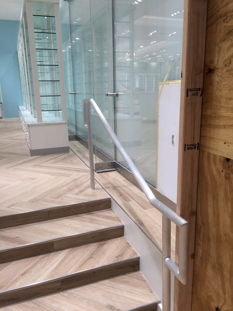 Bluemercury The Cube Flagship Store #4 July 14 2017 railing and steps facing sixth avenue